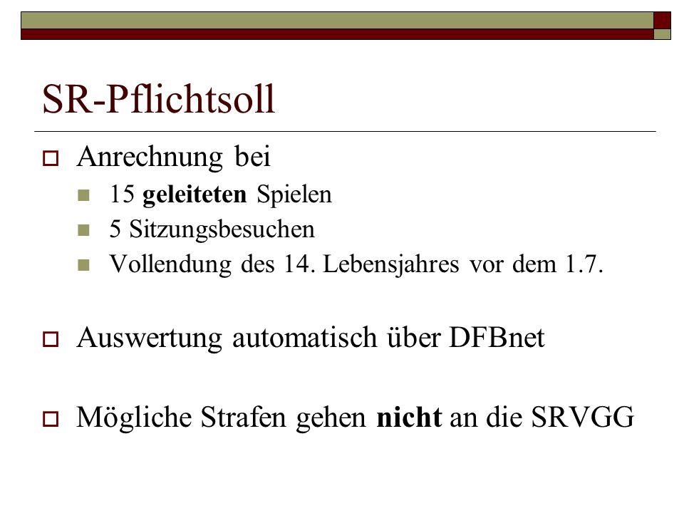 SR-Pflichtsoll Anrechnung bei Auswertung automatisch über DFBnet
