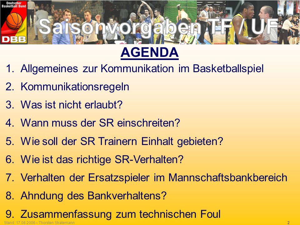 AGENDA Allgemeines zur Kommunikation im Basketballspiel