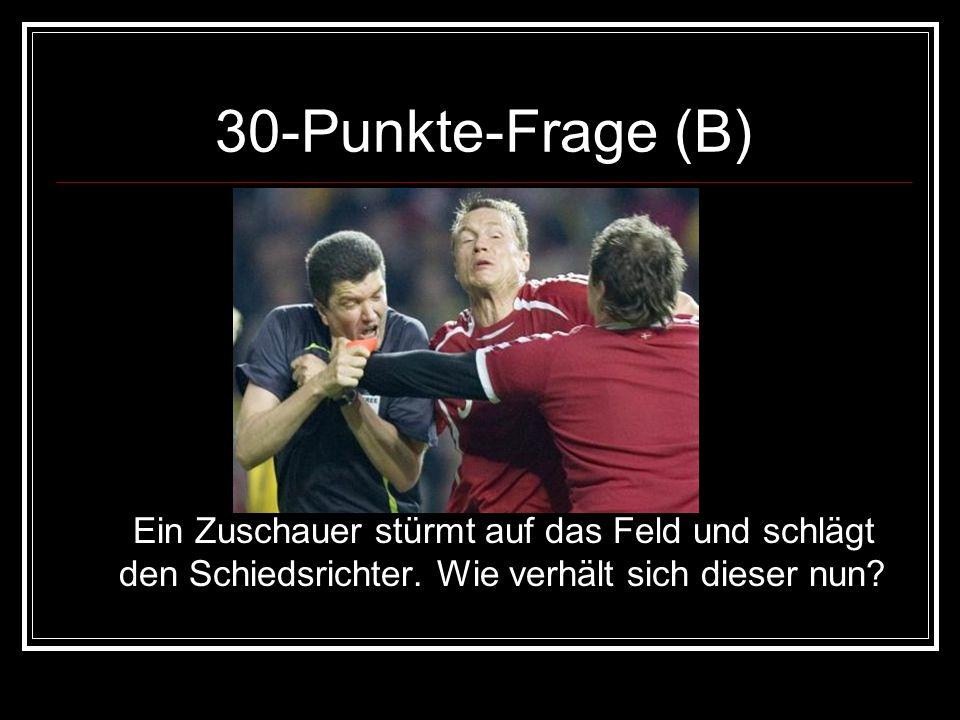 30-Punkte-Frage (B)Ein Zuschauer stürmt auf das Feld und schlägt den Schiedsrichter.