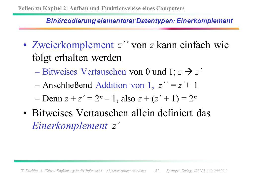 Binärcodierung elementarer Datentypen: Einerkomplement