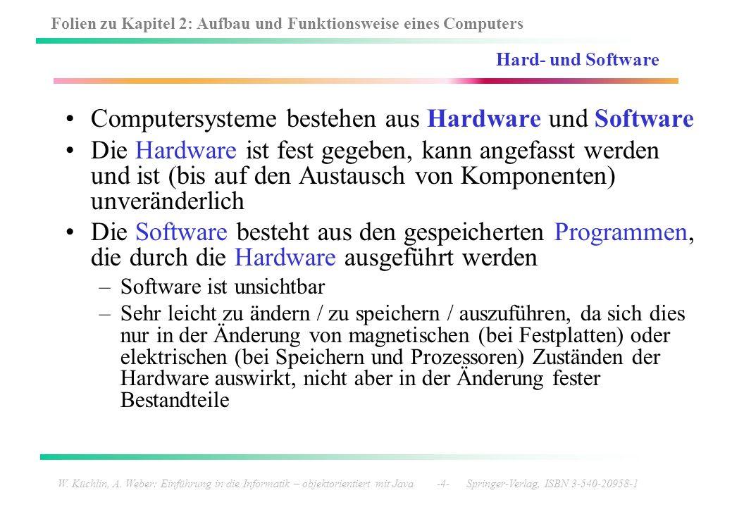 Computersysteme bestehen aus Hardware und Software