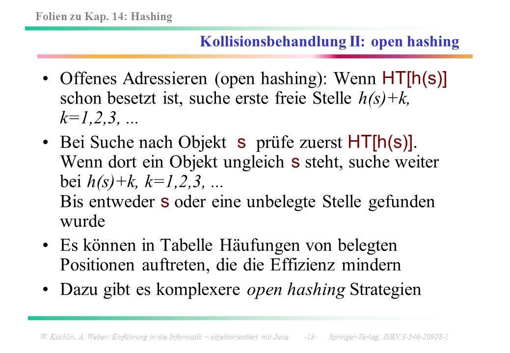 Kollisionsbehandlung II: open hashing