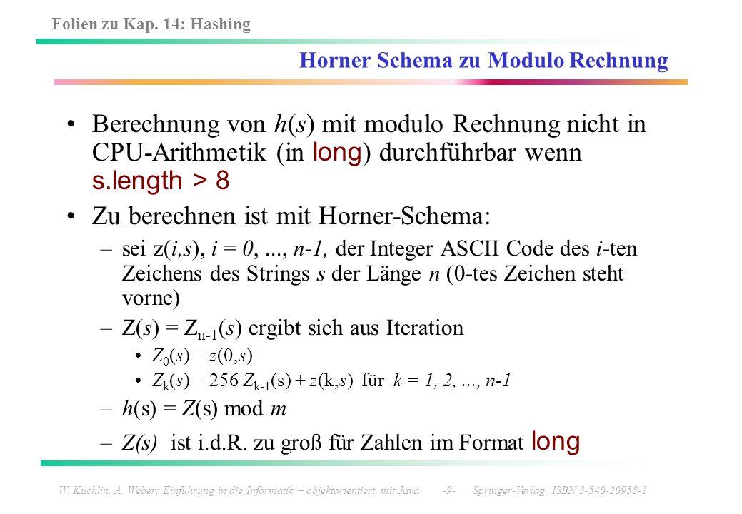 Horner Schema zu Modulo Rechnung