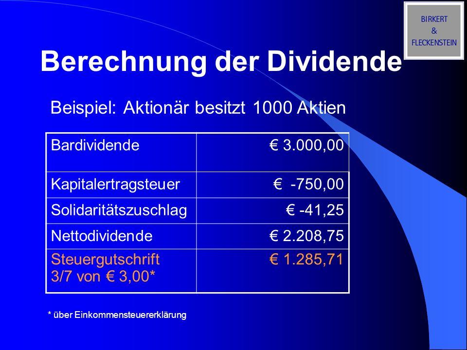 Berechnung der Dividende