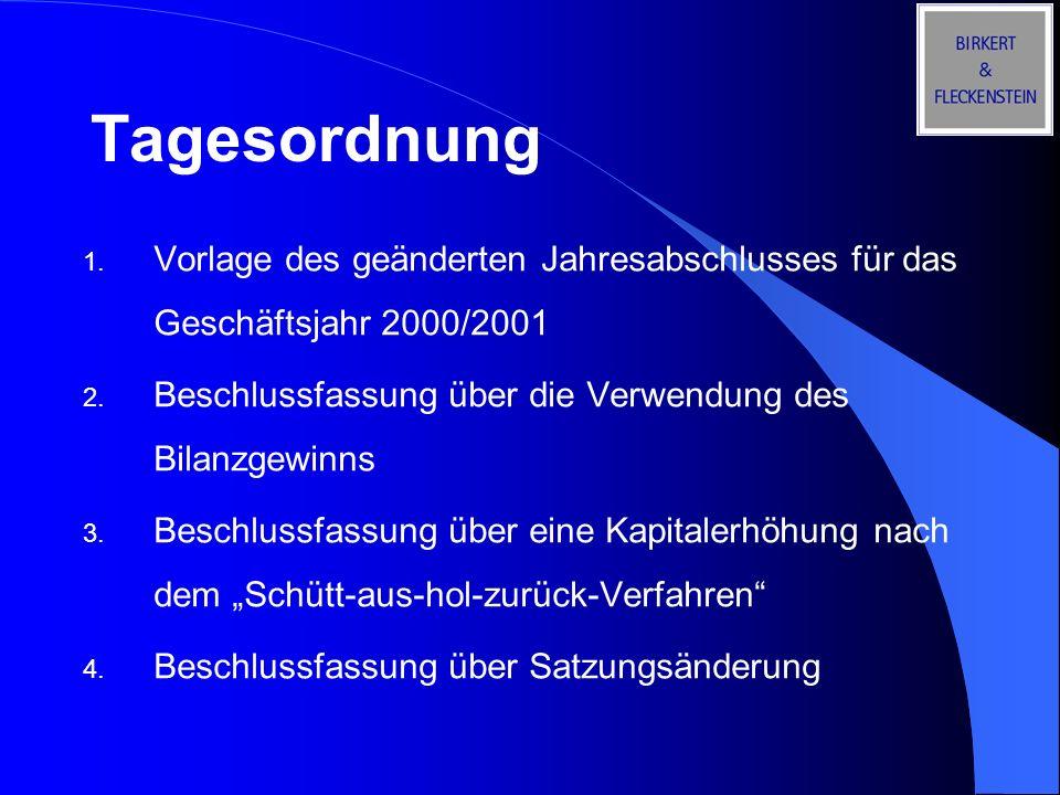Tagesordnung Vorlage des geänderten Jahresabschlusses für das Geschäftsjahr 2000/2001. Beschlussfassung über die Verwendung des Bilanzgewinns.