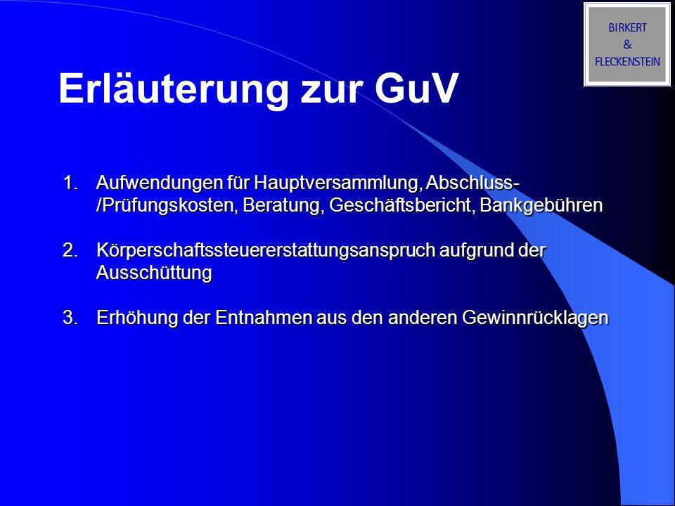Erläuterung zur GuV Aufwendungen für Hauptversammlung, Abschluss-/Prüfungskosten, Beratung, Geschäftsbericht, Bankgebühren.
