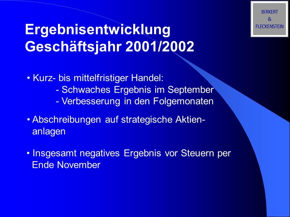 Ergebnisentwicklung Geschäftsjahr 2001/2002