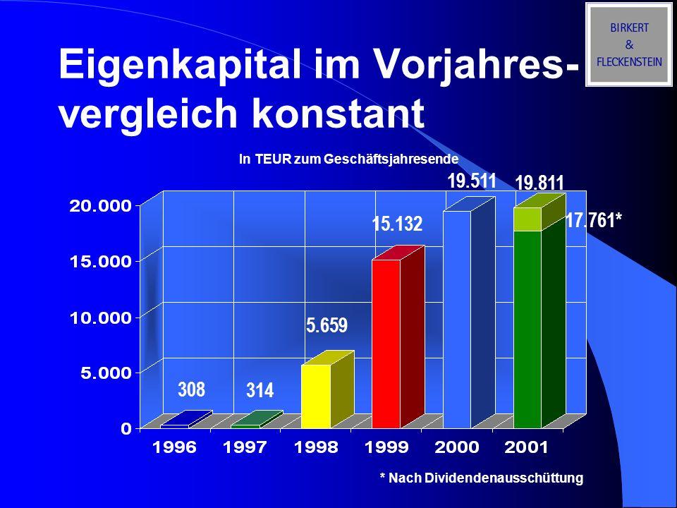 Eigenkapital im Vorjahres-vergleich konstant