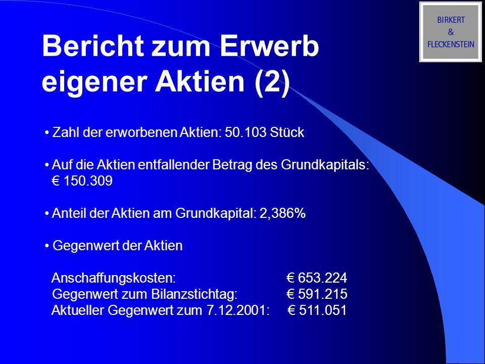 Bericht zum Erwerb eigener Aktien (2)