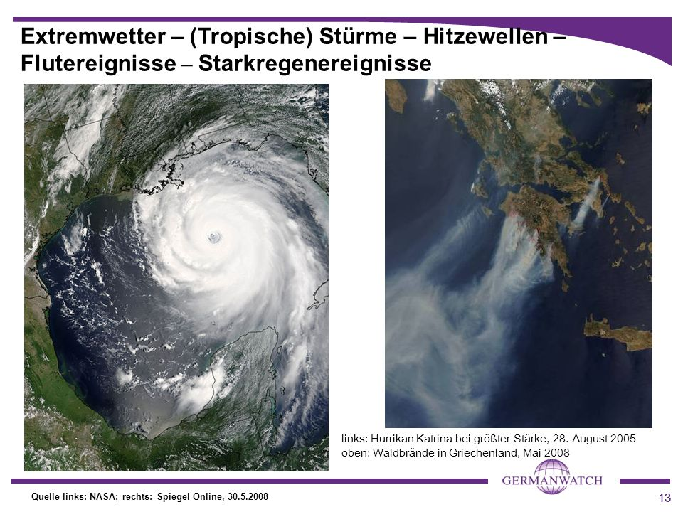 Extremwetter – (Tropische) Stürme – Hitzewellen – Flutereignisse – Starkregenereignisse