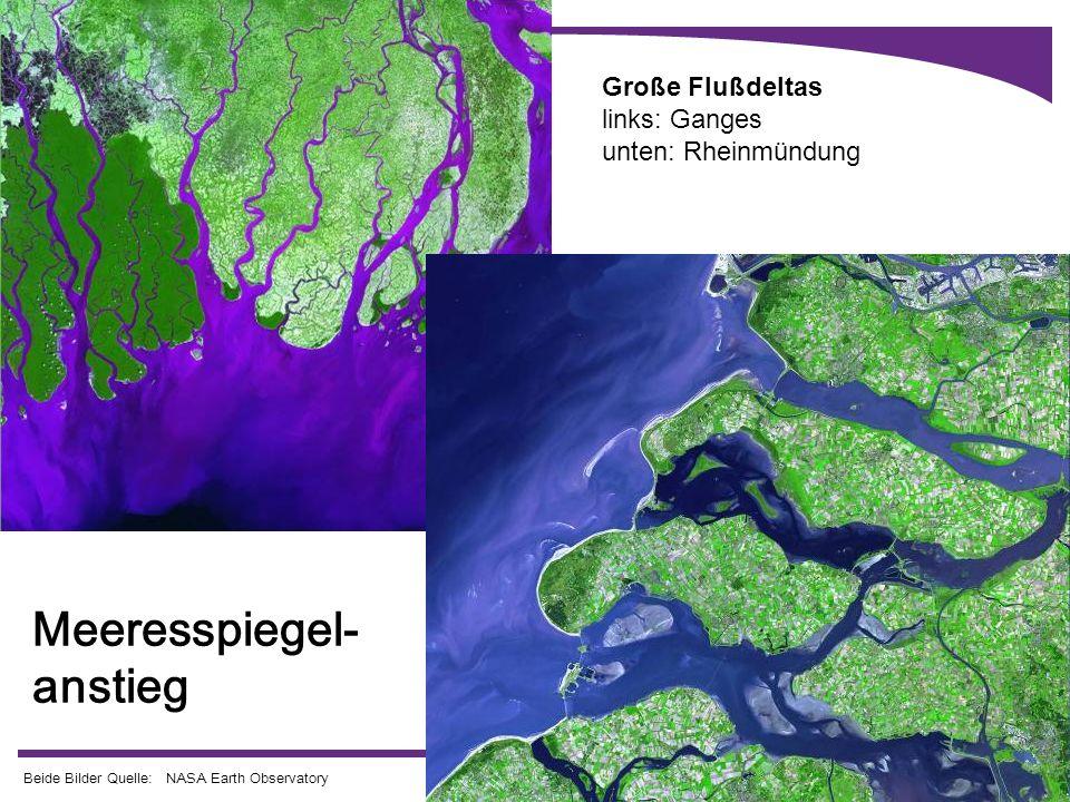 Große Flußdeltas links: Ganges unten: Rheinmündung