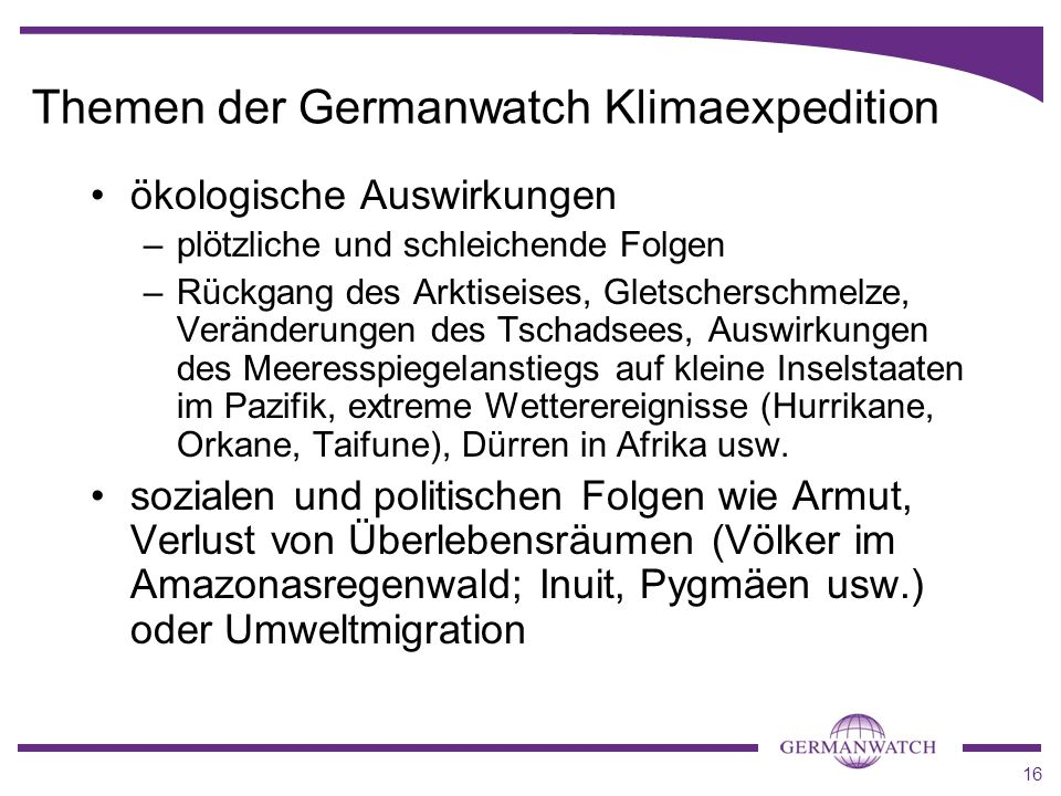 Themen der Germanwatch Klimaexpedition