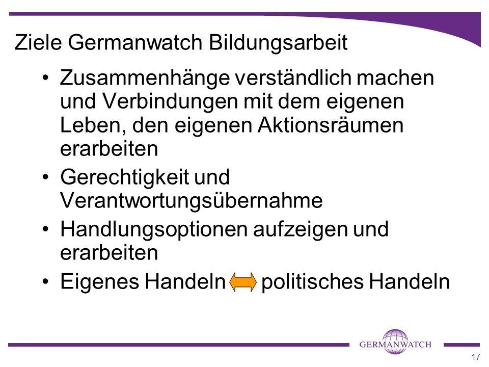 Ziele Germanwatch Bildungsarbeit
