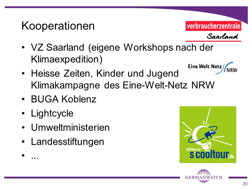 Kooperationen VZ Saarland (eigene Workshops nach der Klimaexpedition)
