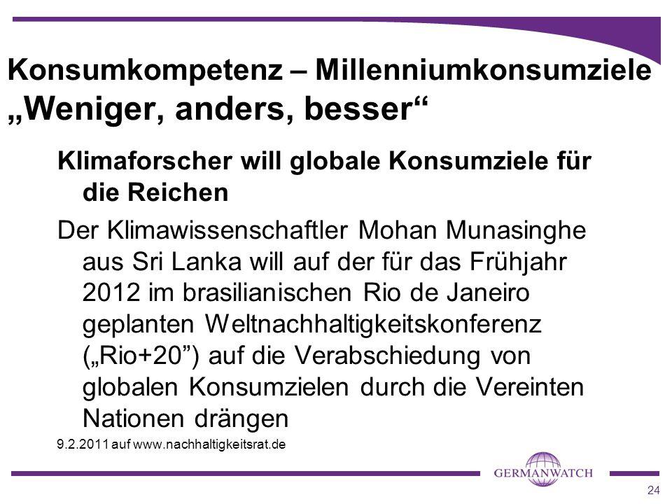 "Konsumkompetenz – Millenniumkonsumziele ""Weniger, anders, besser"