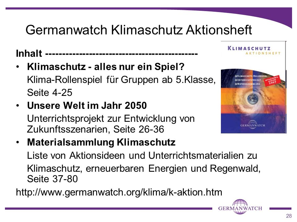 Germanwatch Klimaschutz Aktionsheft