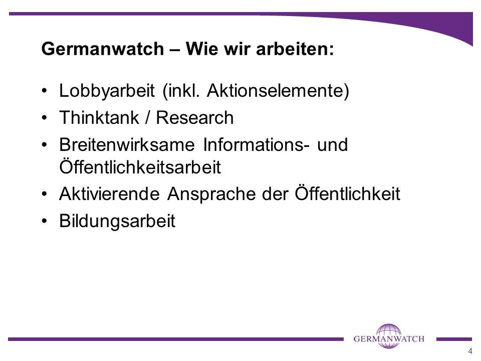 Germanwatch – Wie wir arbeiten: