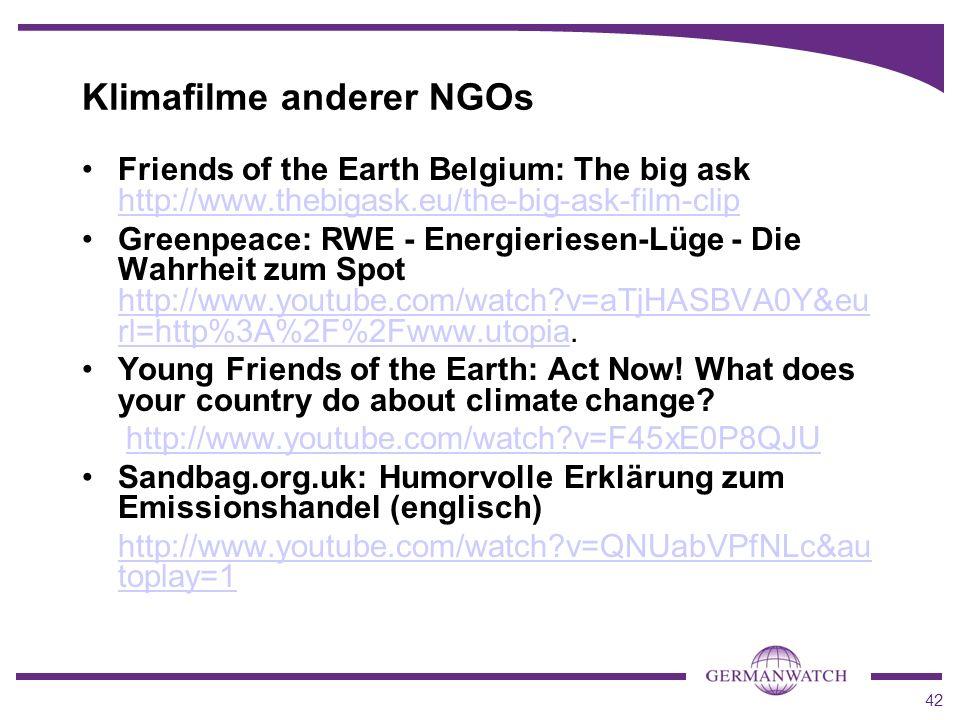 Klimafilme anderer NGOs
