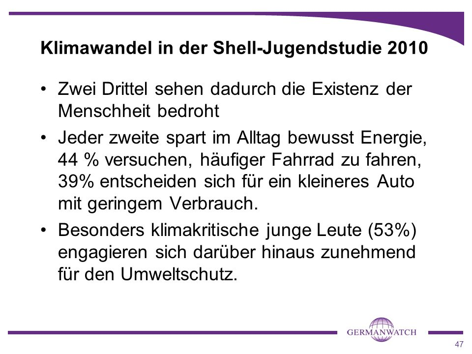 Klimawandel in der Shell-Jugendstudie 2010