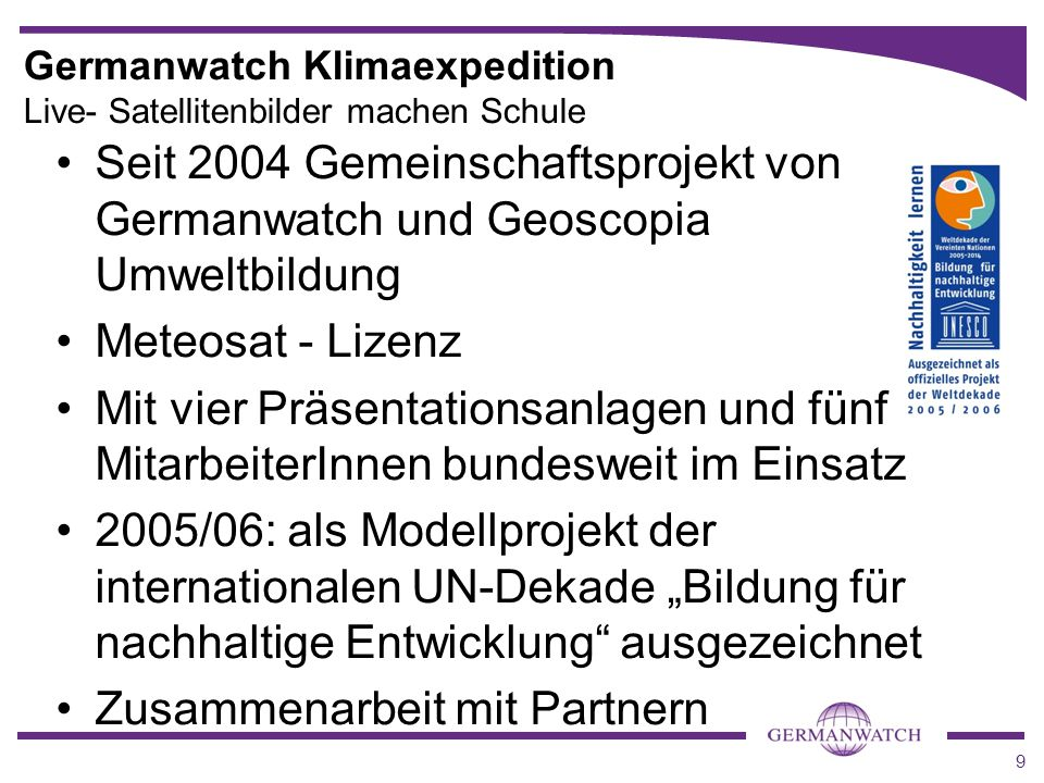 Germanwatch Klimaexpedition Live- Satellitenbilder machen Schule