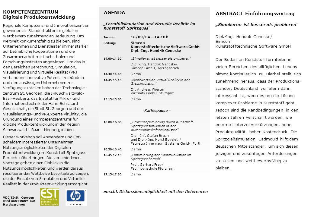 Digitale Produktentwicklung AGENDA ABSTRACT Einführungsvortrag