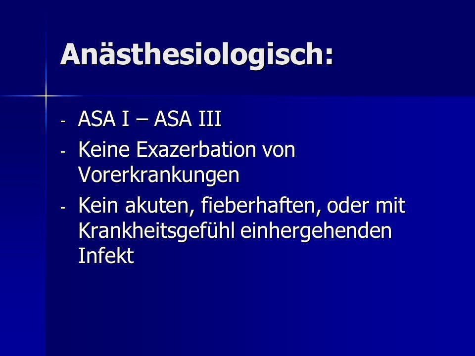 Anästhesiologisch: ASA I – ASA III