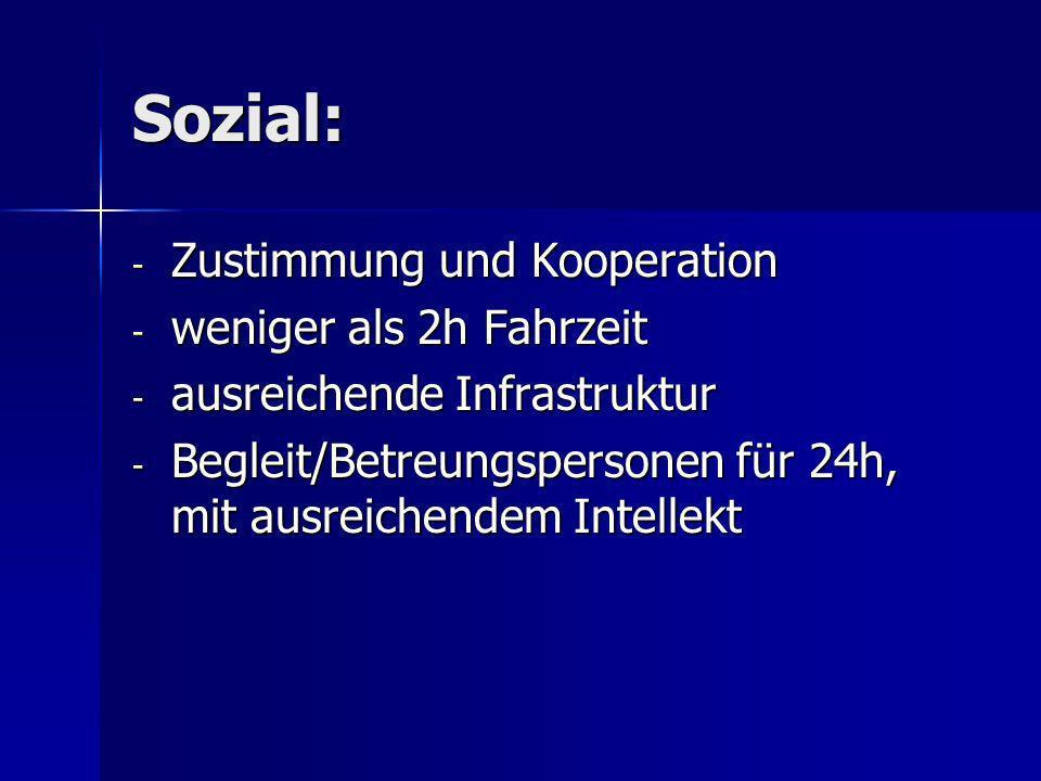 Sozial: Zustimmung und Kooperation weniger als 2h Fahrzeit