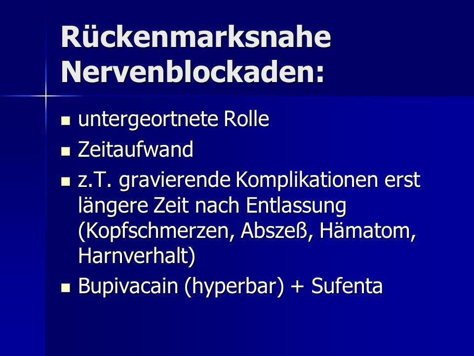 Rückenmarksnahe Nervenblockaden: