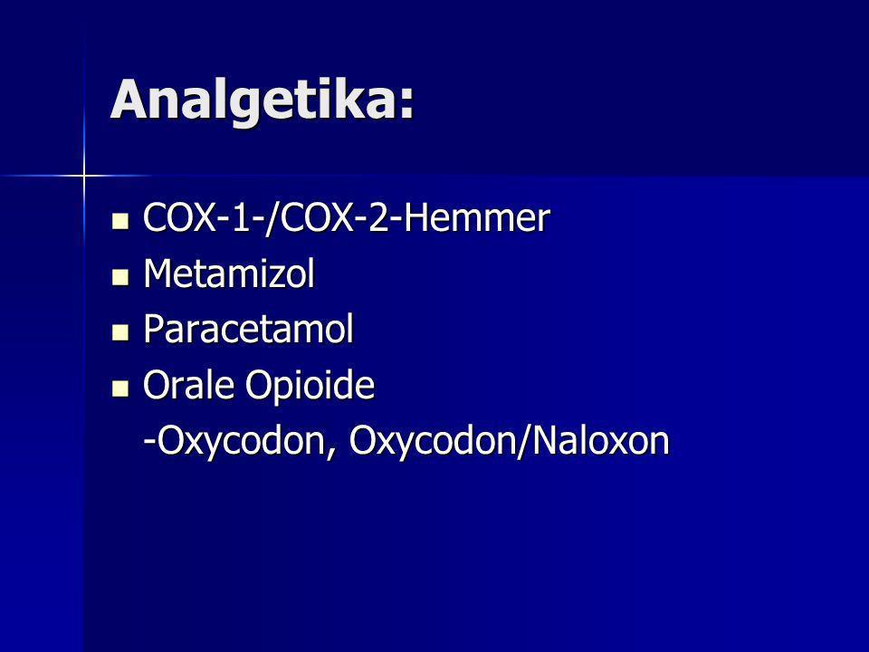 Analgetika: COX-1-/COX-2-Hemmer Metamizol Paracetamol Orale Opioide