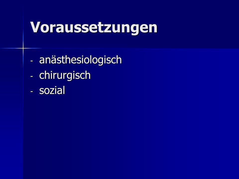Voraussetzungen anästhesiologisch chirurgisch sozial
