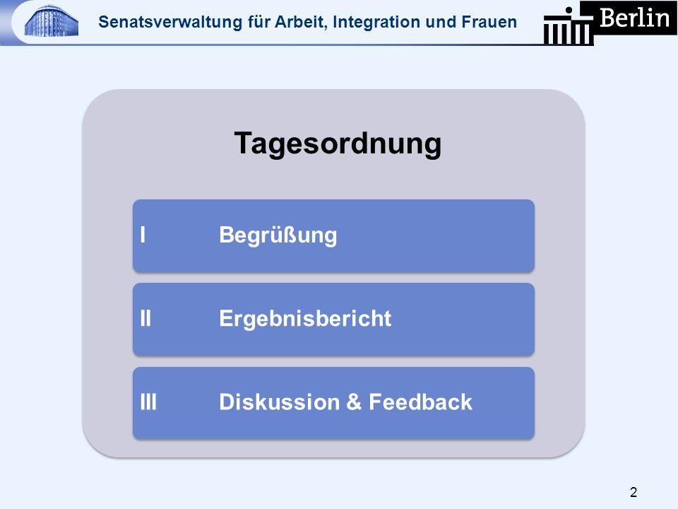 Tagesordnung I Begrüßung II Ergebnisbericht III Diskussion & Feedback