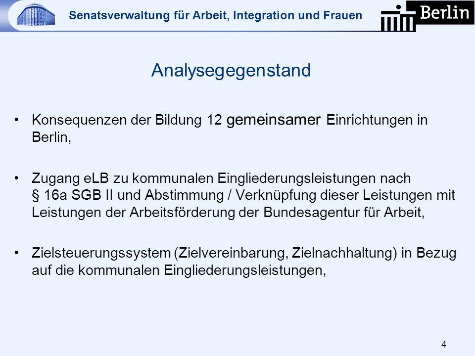 Analysegegenstand Konsequenzen der Bildung 12 gemeinsamer Einrichtungen in Berlin,