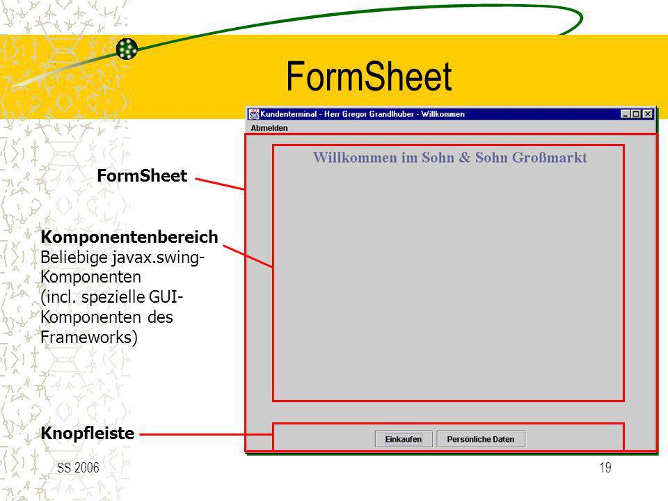 FormSheet FormSheet Komponentenbereich