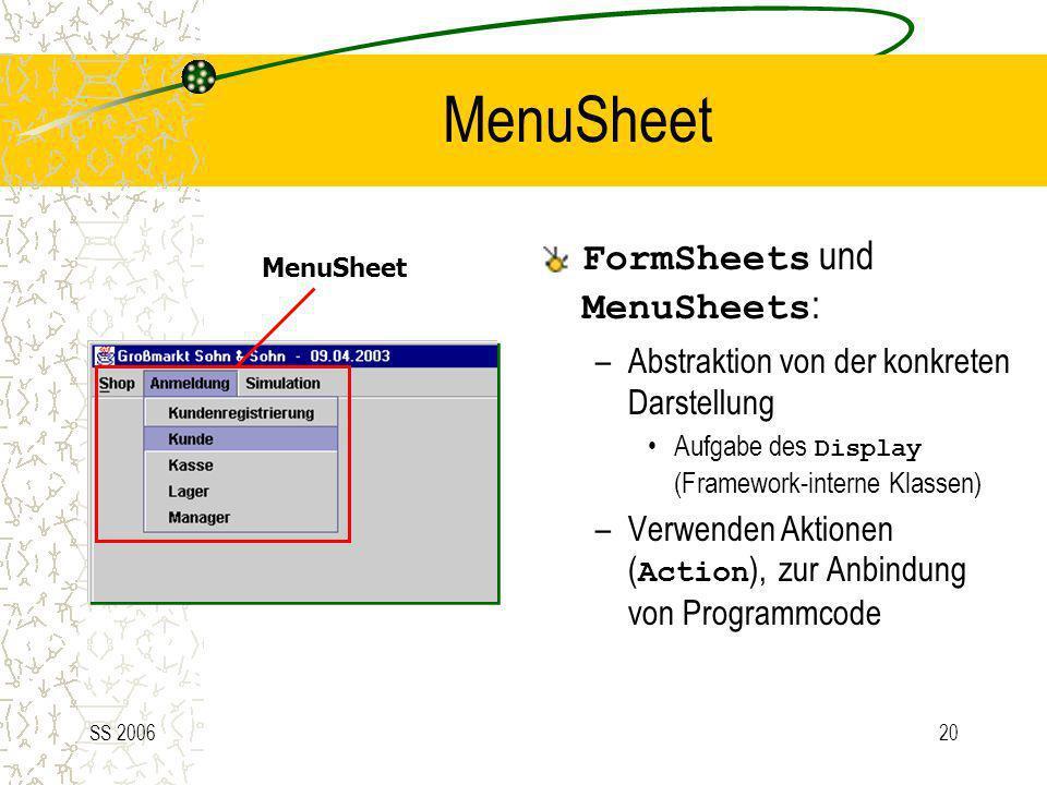 MenuSheet FormSheets und MenuSheets: