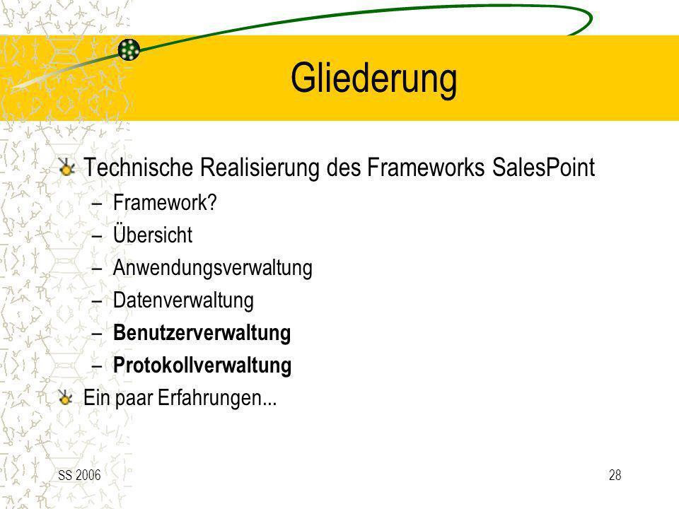Gliederung Technische Realisierung des Frameworks SalesPoint