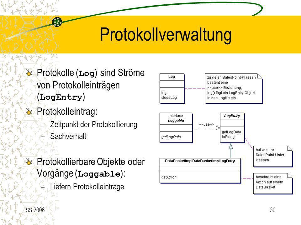 Protokollverwaltung Protokolle (Log) sind Ströme von Protokolleinträgen (LogEntry) Protokolleintrag: