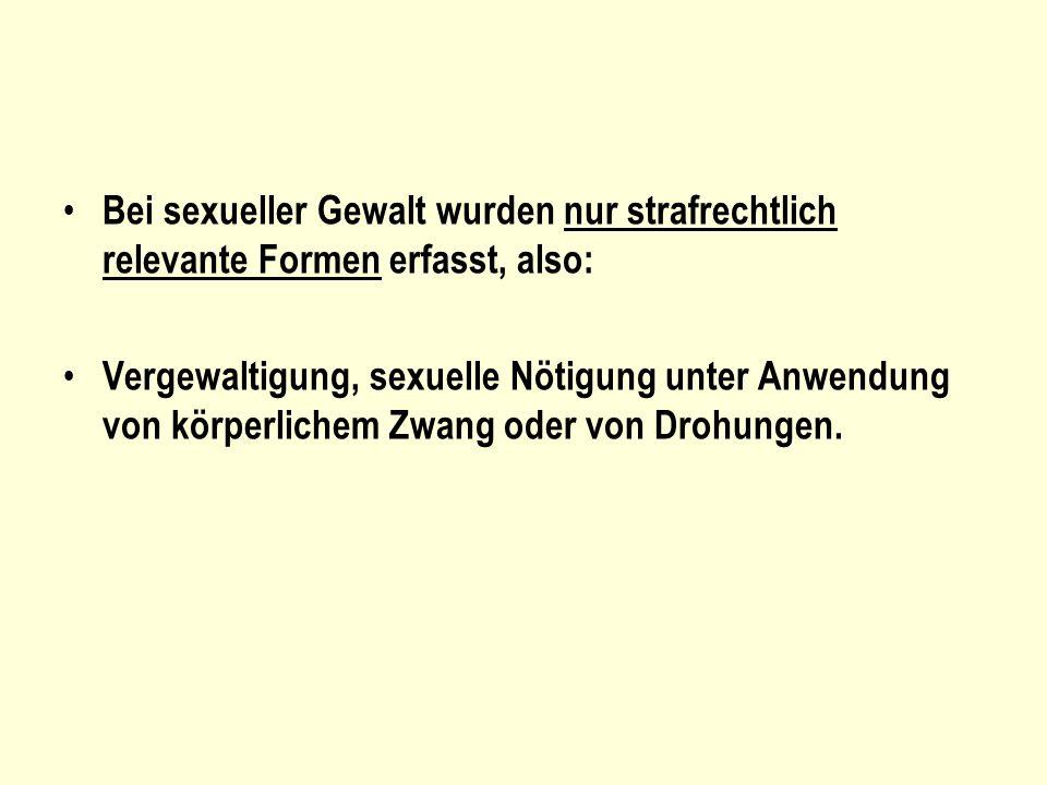 Bei sexueller Gewalt wurden nur strafrechtlich relevante Formen erfasst, also: