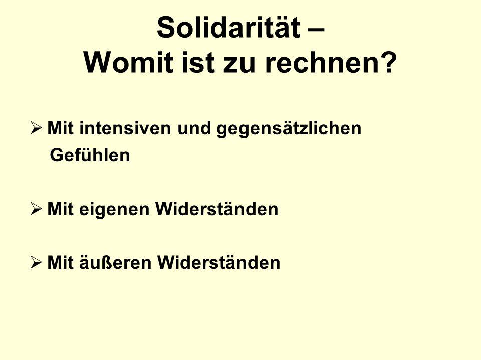 Solidarität – Womit ist zu rechnen