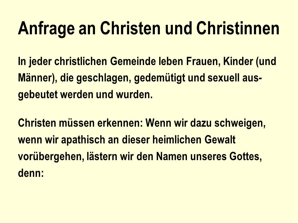 Anfrage an Christen und Christinnen