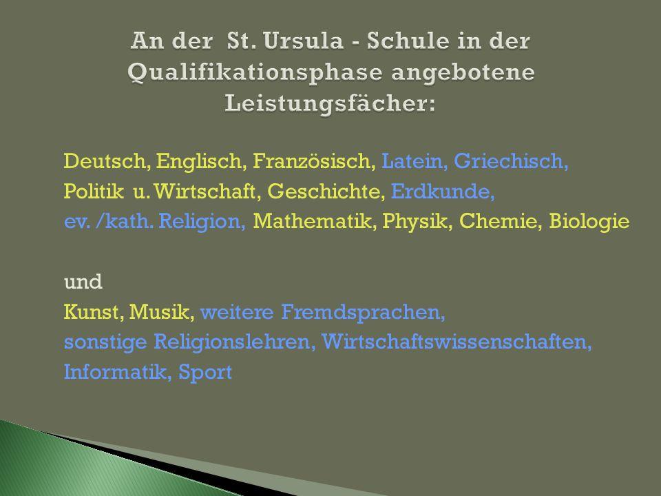 An der St. Ursula - Schule in der Qualifikationsphase angebotene Leistungsfächer: