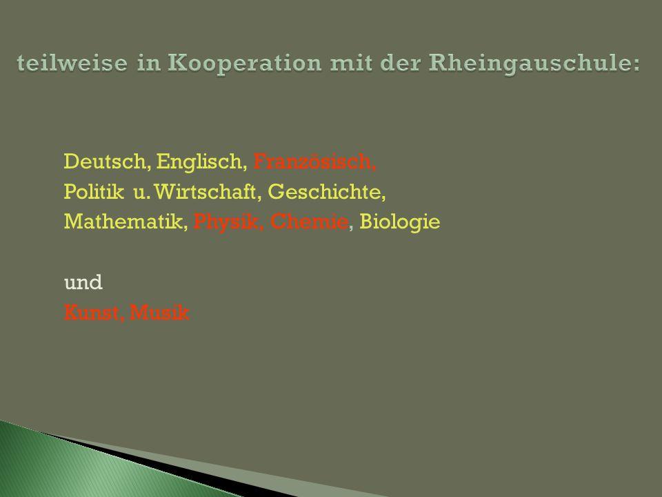 teilweise in Kooperation mit der Rheingauschule: