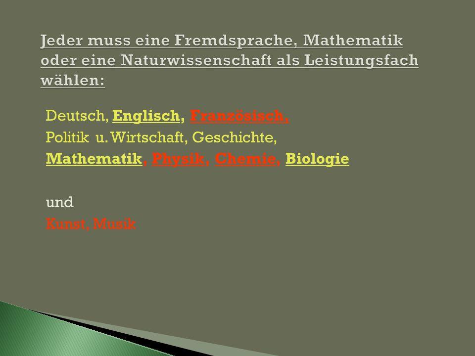 Jeder muss eine Fremdsprache, Mathematik oder eine Naturwissenschaft als Leistungsfach wählen: