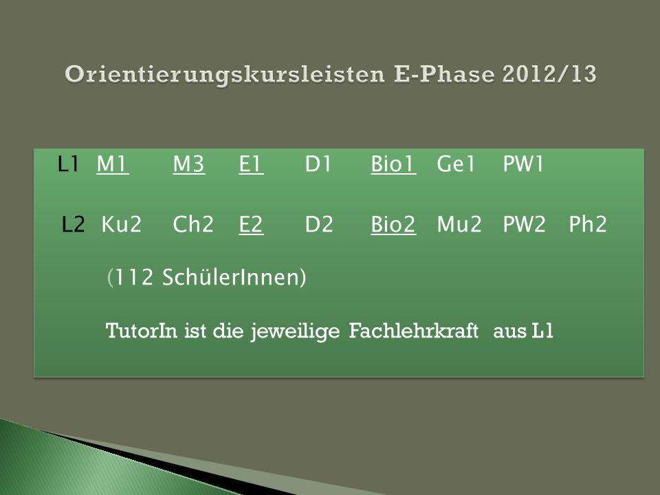 Orientierungskursleisten E-Phase 2012/13