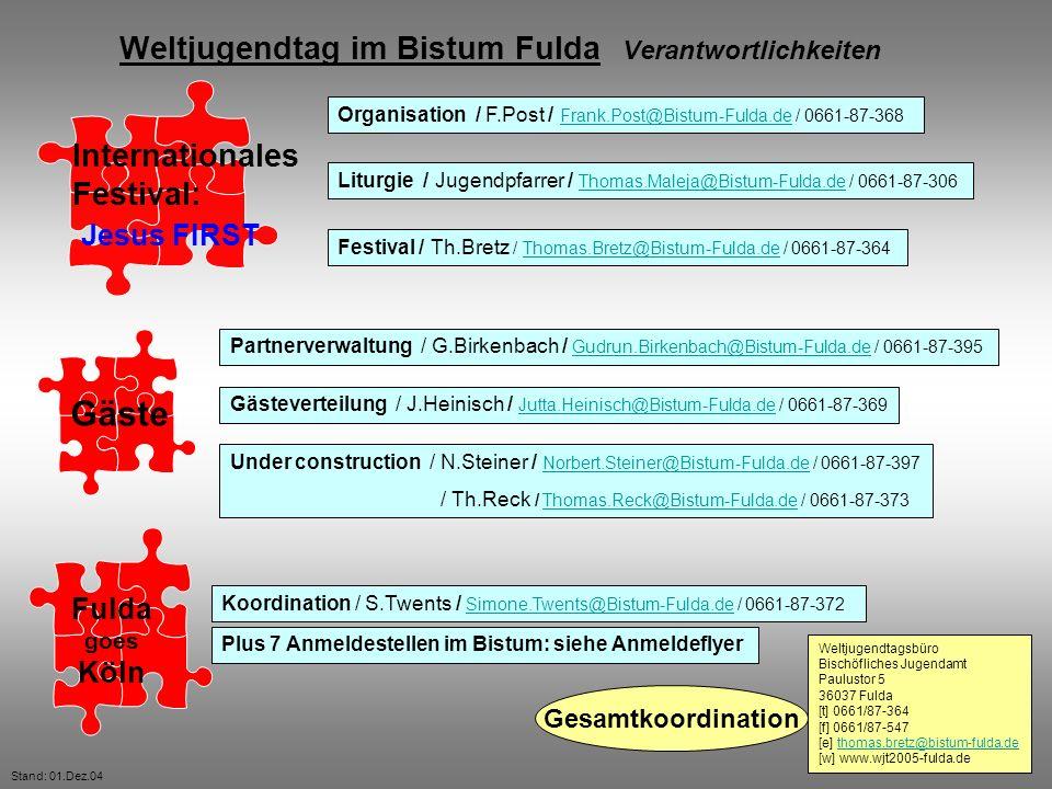 Weltjugendtag im Bistum Fulda Verantwortlichkeiten