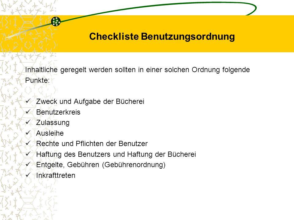 Checkliste Benutzungsordnung