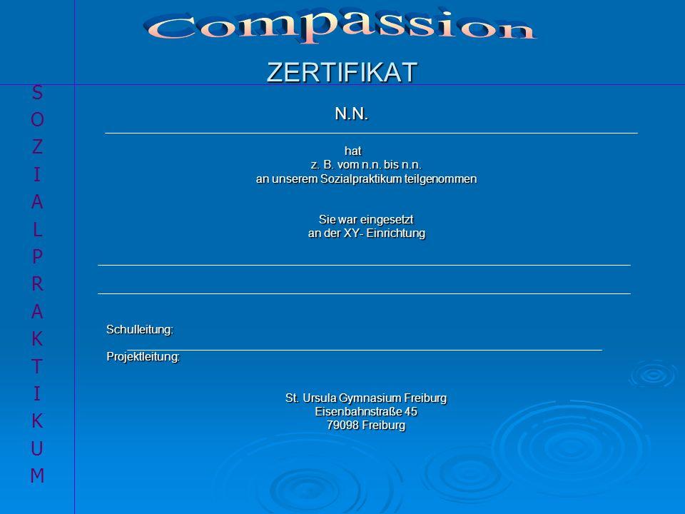 ZERTIFIKAT S O Z I A L P R K T U M Compassion N.N.