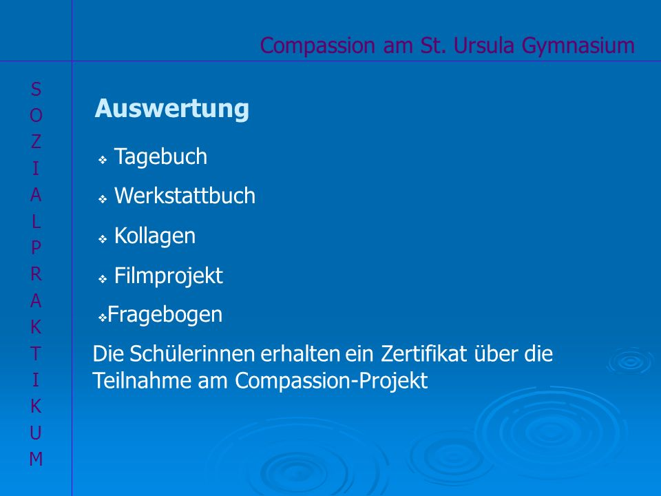 Auswertung Compassion am St. Ursula Gymnasium Tagebuch Werkstattbuch