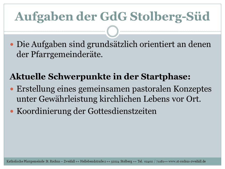 Aufgaben der GdG Stolberg-Süd