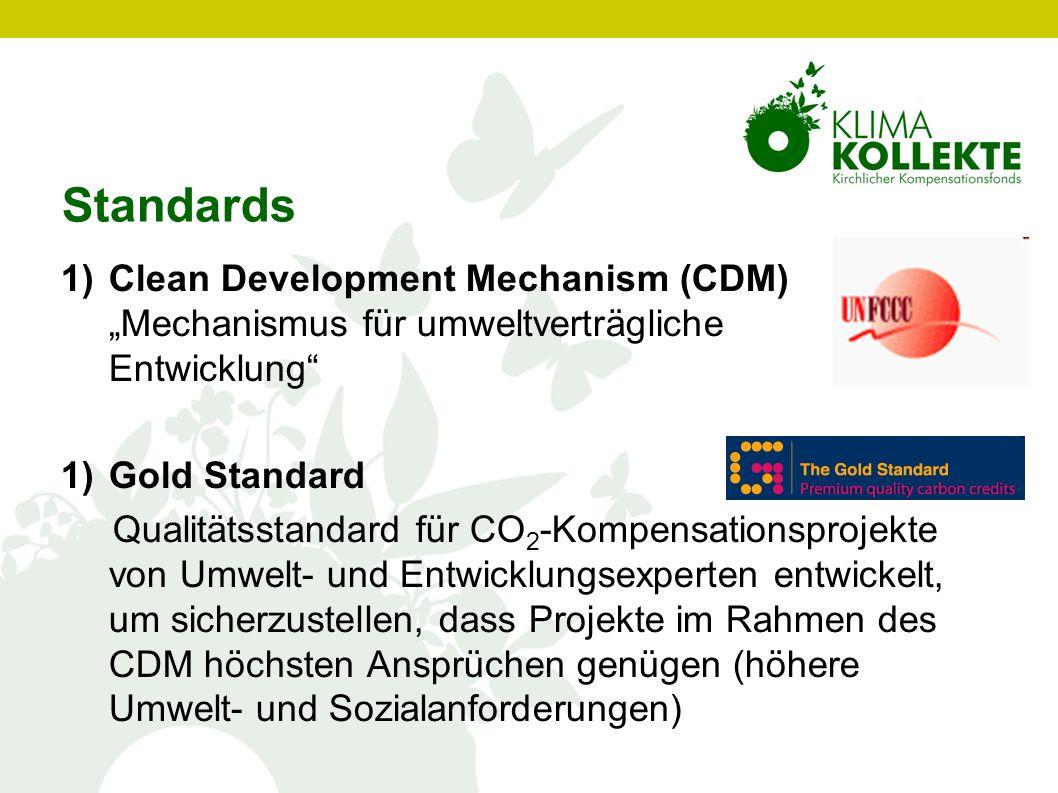 """Standards Clean Development Mechanism (CDM) """"Mechanismus für umweltverträgliche Entwicklung Gold Standard."""