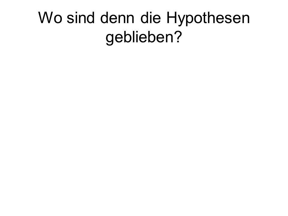 Wo sind denn die Hypothesen geblieben